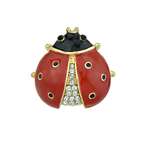 cheap Religious Jewelry-Women's Brooches Fancy Stylish Unique Design Rhinestone Brooch Jewelry Black Red For Christmas Graduation Daily