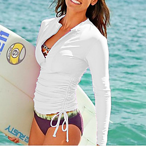 cheap Wetsuits, Diving Suits & Rash Guard Shirts-SBART Women's Rash Guard Dive Skin Suit Diving Suit Top SPF30 UV Sun Protection Quick Dry Long Sleeve Front Zip - Swimming Diving Snorkeling Spring &  Fall Summer / Stretchy / High Elasticity