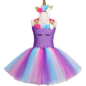 cheap Movie & TV Theme Costumes-2-12 Years Fancy Baby Girl Tutu Dress Pony Unicorn Headband Halloween Costume
