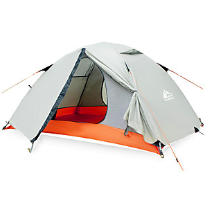 cheap Tents, Canopies & Shelters-Hewolf 2 person Family Tent Outdoor Windproof Rain Waterproof Wearable Double Layered Poled Camping Tent >3000 mm for Camping / Hiking / Caving Picnic Oxford Cloth 200*140*110 cm