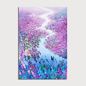 cheap Floral/Botanical Paintings-Oil Painting Hand Painted - Abstract Floral / Botanical Modern Stretched Canvas