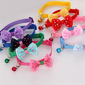 cheap Dog Collars, Harnesses & Leashes-Cat Collar Adjustable Size Cute Bowknot Fabric Purple Red
