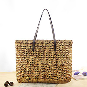 cheap Handbag & Totes-Women's Bags Straw Tote for Going out / Beach Dark Brown / White / Green / Straw Bag / Fall & Winter