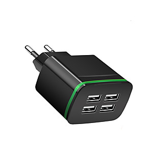 cheap USB Hubs & Switches-Portable Charger USB Charger EU Plug Multi-Output 4 USB Ports 2.1 A 100~240 V for Universal