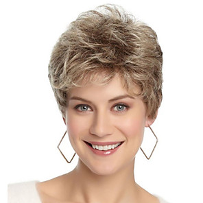 cheap Synthetic Trendy Wigs-Synthetic Wig Bangs Curly Free Part Wig Blonde Short Light golden Synthetic Hair 12 inch Women's Fashionable Design Women Synthetic Blonde