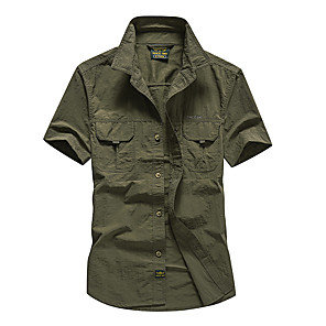cheap Hiking Shirts-Men's Hiking Shirt / Button Down Shirts Short Sleeve Outdoor Breathable Quick Dry Sweat-wicking Multi Pocket Shirt Top Summer POLY Traveling Army Green Grey Khaki