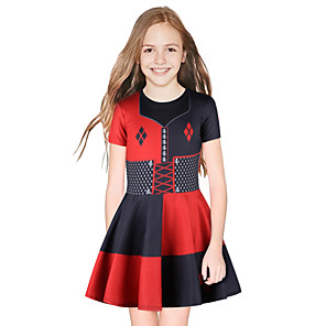 cheap Anime Costumes-Harley Quinn Dress Girls' Movie Cosplay Cosplay Red / Blue Dress Halloween Carnival Masquerade Polyester
