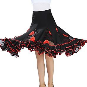 cheap Ballroom Dancewear-Ballroom Dance Skirts Scattered Bead Floral Motif Style Gore Women's Training Performance Natural Tulle