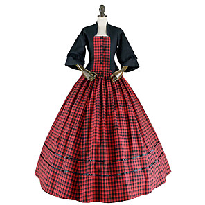 cheap Historical & Vintage Costumes-Princess Rococo Victorian Dress Party Costume Costume Women's Cotton Costume Red+Black Vintage Cosplay Masquerade Party & Evening 3/4 Length Sleeve Floor Length Long Length Plus Size / Coat / Coat
