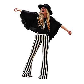 cheap Historical & Vintage Costumes-Cosplay Retro Vintage Hippie 1970s Disco Pants Trousers Women's Costume Black / Black / White Vintage Cosplay Party Daily Pantsuit / Jumpsuit