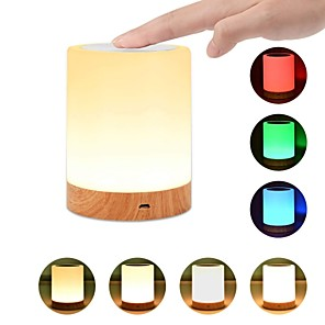 cheap LED Bi-pin Lights-1pc USB 5V Night Light Touch Lamp for Bedrooms Living Room Portable Table Bedside Lamps with Rechargeable Internal Battery Dimmable 2800K-3100K Warm White Light Color Changing RGB