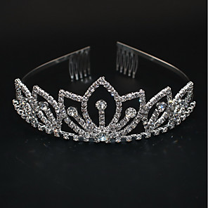 cheap Hair Jewelry-Women's Ladies For Homecoming Royalty Rhinestone Silver Plated Alloy Silver