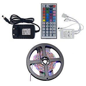 cheap LED Strip Lights-5m Light Sets LED Light Strips RGB Tiktok Lights 300 LEDs 2835 SMD 8mm 1 44Keys Remote Controller 1 x 2A power adapter RGB+White Waterproof Party Decorative 12 V 1 set
