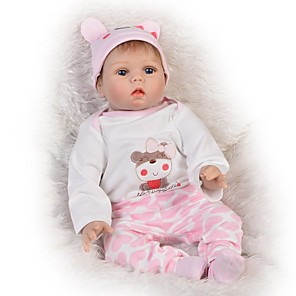 cheap Reborn Doll-FeelWind 22 inch Reborn Doll Baby Girl Reborn Baby Doll Gift Kids / Teen Lovely Full Body Silicone with Clothes and Accessories for Girls' Birthday and Festival Gifts