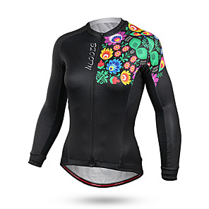 cheap Cycling Jerseys-Mountainpeak Women's Long Sleeve Cycling Jersey Winter Coolmax® Black Floral Botanical Bike Jersey Top Mountain Bike MTB Road Bike Cycling Breathable Sweat-wicking Sports Clothing Apparel