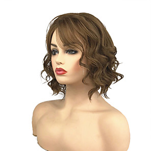 cheap Synthetic Trendy Wigs-Synthetic Wig Curly Side Part Wig Medium Length Medium Golden Brown Synthetic Hair 10 inch Women's Classic Synthetic Brown