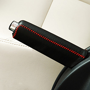 cheap Car Charger-universally Black Red Car Auto Gear Shift HandBrake Hand Brake Cover Grid Leatherwear Cover