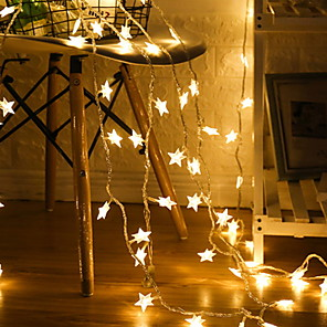 cheap LED String Lights-3m Pentagram String Lights 20 LEDs Warm White Christmas New Year Party Decorative AA Batteries Powered 1 set