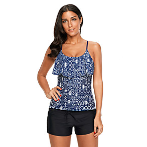 cheap Wetsuits, Diving Suits & Rash Guard Shirts-Women's Tankini Top Top Sleeveless Swimming Water Sports Painting Patchwork Summer / Stretchy