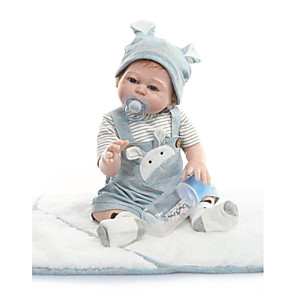cheap Reborn Doll-NPKCOLLECTION 22 inch Reborn Doll Baby Reborn Baby Doll Cute Artificial Implantation Blue Eyes Full Body Silicone with Clothes and Accessories for Girls' Birthday and Festival Gifts