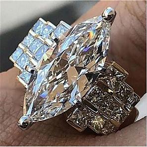 cheap Fine Jewelry-Women's Promise Ring Cubic Zirconia 1pc White Copper Geometric Stylish Iridescent Wedding Daily Jewelry Classic Joy Cool
