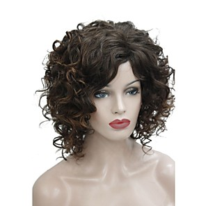 cheap Synthetic Trendy Wigs-Synthetic Wig Curly Side Part Wig Medium Length Brown Synthetic Hair 14 inch Women's Synthetic Brown