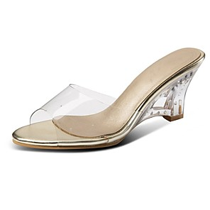 cheap Women's Sandals-Women's Sandals Wedge Sandals Clear / Transparent / PVC Plus Size Open Toe Classic Lucite Heel Daily Party & Evening Color Block PU Dark Red / Gold / Green