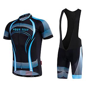 cheap Men's Cycling Jersey & Shorts / Pants Sets-Customized Cycling Clothing Men's Cycling Jersey with Bib Shorts - Blue / White Black / Blue Bike Bib Shorts Jersey, Quick Dry, Anatomic Design, Reflective Strips / Micro-elastic / Road Bike Cycling