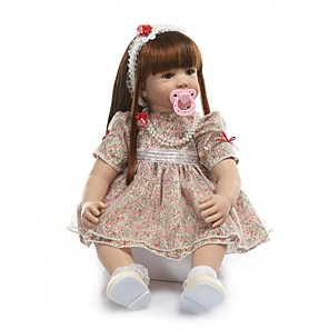 cheap Reborn Doll-NPKCOLLECTION 24 inch Reborn Doll Baby Girl Reborn Toddler Doll Gift Hand Made Artificial Implantation Brown Eyes Cloth 3/4 Silicone Limbs and Cotton Filled Body with Clothes and Accessories for