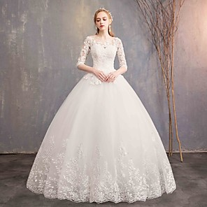 cheap Party Hats-Ball Gown Wedding Dresses Bateau Neck Maxi Lace Tulle Half Sleeve Glamorous Illusion Sleeve with Lace 2020
