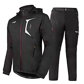 cheap Cycling Jersey & Shorts / Pants Sets-Mountainpeak Men's Long Sleeve Cycling Jacket with Pants Black Bike Clothing Suit Breathable Winter Sports Solid Colored Mountain Bike MTB Road Bike Cycling Clothing Apparel / Micro-elastic