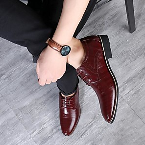 cheap Men's Oxfords-Men's Dress Shoes Derby Shoes Spring / Fall Business / Classic Daily Party & Evening Office & Career Oxfords Leather / Cowhide Wear Proof Yellow / Blue / Brown / Split Joint / EU40