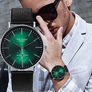 cheap Smartwatches-Men's Dress Watch Quartz Casual Water Resistant / Waterproof Leather Black / Green Analog - Black Purple Green One Year Battery Life / Stainless Steel / Large Dial