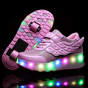 cheap Kids' Boots-Boys' / Girls' Sneakers USB Charging PU Heelys Shoes Little Kids(4-7ys) / Big Kids(7years +) Walking Shoes Sequin Pink / Gold / Silver Spring / Fall / TPR (Thermoplastic Rubber)