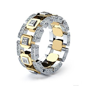 cheap Men's Bracelets-Men's Women's Ring 1pc Gold Silver Ring 1 Golden Ring 1 Imitation Diamond Alloy European Daily Jewelry Hollow Out Knife Edge