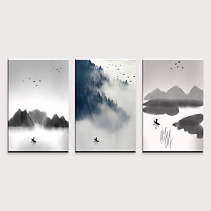 cheap Wall Stickers-Print Rolled Canvas Prints - Leisure Abstract Landscape Classic Three Panels Art Prints
