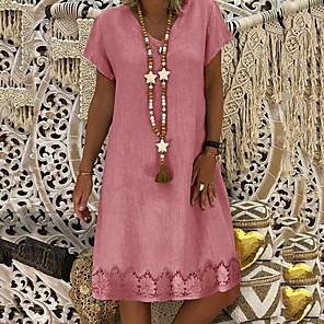 cheap Wetsuits, Diving Suits & Rash Guard Shirts-Women's Shift Dress Knee Length Dress - Short Sleeve Summer V Neck Casual Vacation Yellow Blushing Pink Khaki Light Blue S M L XL XXL XXXL XXXXL XXXXXL