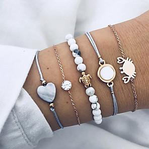 cheap Pendant Necklaces-5pcs Men's Women's Layered Bead Bracelet Vintage Bracelet Bracelet Set Heart Turtle Natural Punk Casual / Sporty Bracelet Jewelry Gold For School Street