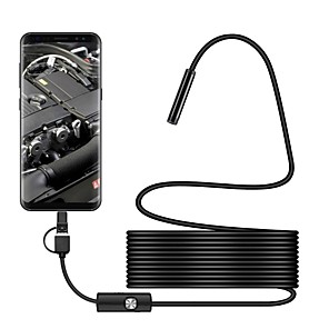 cheap Microscopes & Endoscopes-7 mm lens Industrial Endoscope 3 in 1 USB Endoscope Waterproof IP67 Hardwire Borescope Inspection Camera Snake Video Cam with 6 LED for Android PC