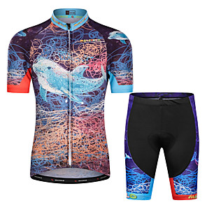 cheap Cycling Jersey & Shorts / Pants Sets-Malciklo Boys' Girls' Short Sleeve Cycling Jersey with Shorts - Kid's Black Floral Botanical Bike Clothing Suit UV Resistant Breathable Moisture Wicking Quick Dry Reflective Strips Sports Lycra