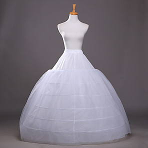 cheap Wedding Slips-Bride Classic Lolita 1950s 6 Hoop Dress Petticoat Hoop Skirt Crinoline Women's Girls' Tulle Costume White Vintage Cosplay Wedding Party Princess