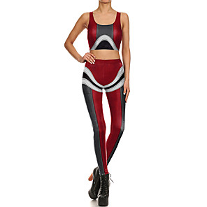 cheap Fitness Gear & Accessories-Women's 2 Piece Yoga Suit Red Running Fitness Gym Workout High Waist Tights Leggings Bra Top Sport Activewear Breathable Tummy Control Butt Lift Stretchy