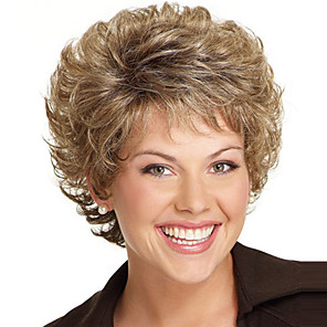 cheap Synthetic Trendy Wigs-Synthetic Wig Curly Free Part Wig Blonde Short Light golden Synthetic Hair 8 inch Women's Fashionable Design Women Synthetic Blonde