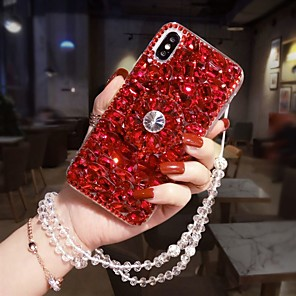 cheap Samsung Case-Case For Samsung Galaxy S9 / S9 Plus / S8 Plus Rhinestone / with Stand Back Cover Glitter Shine Hard Acrylic