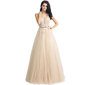 cheap Party Hats-A-Line Elegant Cute Prom Formal Evening Dress Plunging Neck Sleeveless Floor Length Lace Tulle with Sash / Ribbon Appliques 2020