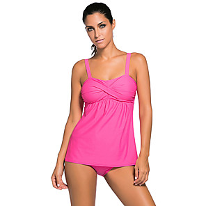 cheap Wetsuits, Diving Suits & Rash Guard Shirts-Women's Tankini Swimwear Sleeveless Swimming Diving Solid Colored Autumn / Fall Spring Summer / Stretchy