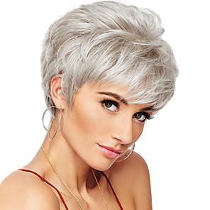 cheap Human Hair Capless Wigs-Human Hair Blend Wig Short Curly Natural Wave Pixie Cut Layered Haircut Asymmetrical Short Hairstyles 2020 White Life Classic Natural Hairline Capless Women's Medium Auburn#30 Natural Black Beige