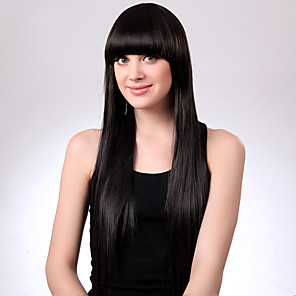 cheap Synthetic Trendy Wigs-Human Hair Blend Wig Long kinky Straight Natural Straight Bob Middle Part Black Natural Black Soft Hot Sale Natural Hairline Capless Women's Natural Black 24 inch