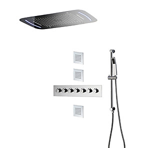 cheap Shower Faucets-Thermostatic Shower Valve Wall Mounted Rain Shower Handshower Included Thermostatic LED Ceramic Valve Five Handles Nine Holes Chrome, Shower Faucet