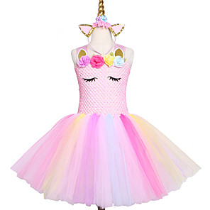 cheap Synthetic Lace Wigs-Handmade Pink Girls Tutu Dress Tulle Princess Kids New Year Costume Vestidos Gift